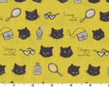 Animal World CANVAS - Glamour Cat Yellow from Kokka Fabric