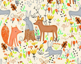 Comfy Flannel Prints - Animal Forest Cream from A.E. Nathan Company