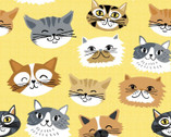 Comfy Flannel Prints - Cats Yellow from A.E. Nathan Company