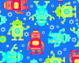 Comfy Flannel Prints - Robots Blue from A.E. Nathan Company
