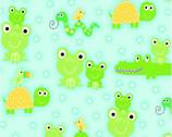 Comfy Flannel Prints - Green Orange Animals on Aqua from A.E. Nathan Company