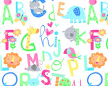 Comfy Flannel Prints - Alphabet Animals White from A.E. Nathan Company