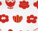 Simple Life CANVAS - Flower and Butterfly Metallic Red from Kokka Fabric