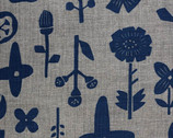 Simple Life CANVAS - Flower Plants Navy  Blue on Gray from Kokka Fabric