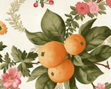 A Fruitful Life - Orange Floral Cream from Maywood Studio Fabric