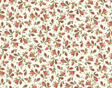 Burgundy and Blush - Tossed Rose Buds Ecru from Maywood Studio Fabric