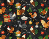 Farm Raised - Roosters Chickens Farm Items Black Charcoal by Gail Green from Henry Glass Fabric