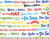 Celebrate Seuss - Words Celebration Colorful by Dr. Seuss from Robert Kaufman Fabric