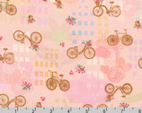 Happy Place - Bikes Floral Blush by Vanessa Lillrose and Linda Fitch from Robert Kaufman Fabric