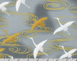Imperial Collection 16 - Flying  Crane Silver from Robert Kaufman Fabric