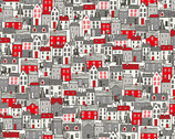 Scandi - Houses Red from Makower UK  Fabric