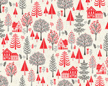 Scandi - Trees Red from Makower UK  Fabric