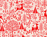 Scandi - Scenic Deer Red from Makower UK  Fabric