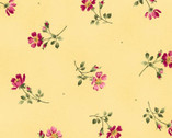 Wild Rose FLANNEL - Single Flowers Peachy Yellow by Marti Michell from Maywood Studio Fabric