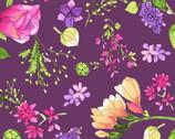 Radiance - Spring Floral Dark Eggplant Purple by Sue Zipkin from Clothworks Fabric