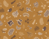 Under The Oak Tree - Scattered Woodland Dark Acorn from Lewis and Irene Fabric