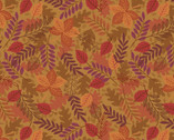Under The Oak Tree - Leaves Dark Acorn from Lewis and Irene Fabric