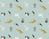 Small Things World Animals - South American Animals Blue from Lewis and Irene Fabric