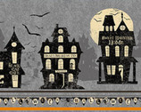Pick Your Poison - Halloween Haunted Houses Stripe Gray from Clothworks Fabric