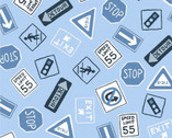 Keep on Truck'n - Road Signs from Clothworks Fabric