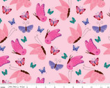 Uni the Unicorn - Butterflies Light Pink from Riley Blake Fabric