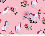 Uni the Unicorn - Unicorn Floral Toss Light Pink from Riley Blake Fabric