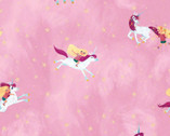 Uni the Unicorn - Main Riding Unicorns Light Pink from Riley Blake Fabric