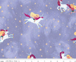 Uni the Unicorn - Main Riding Unicorns Light Purple from Riley Blake Fabric