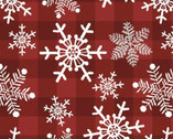 Holiday Christmas Prints Snowflake Plaid Red from David Textiles Fabrics