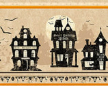 Pick Your Poison - Halloween Haunted Houses Stripe Beige from Clothworks Fabric
