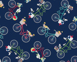 Vintage Boardwalk - Bicycles Navy Blue by Kim Christopherson from Maywood Studio Fabric