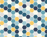 Make Yourself At Home - Hexagons Blue Sunshine by Kim Christopherson from Maywood Studio Fabric