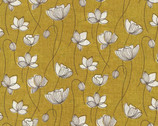 Handworks - Floral Mustard Yellow Cotton Linen Sheeting from Elite Fabric