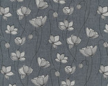 Handworks - Floral Grey Cotton Linen Sheeting from Elite Fabric