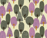 Onnela - Trees Charcoal Purple Natural OXFORD from Elite Fabric