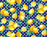 Fresh Fruits OXFORD - Lemons Navy Blue from Cosmo Fabric