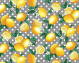 Fresh Fruits OXFORD - Lemons Grey from Cosmo Fabric