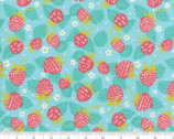 Growing Beautiful - Strawberry Floral Aqua by Crystal Manning from Moda Fabrics