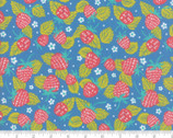 Growing Beautiful - Strawberry Floral Blue by Crystal Manning from Moda Fabrics