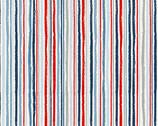 Sail Away - Chalk Stripe Blue Red from Makower UK  Fabric