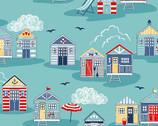 Sail Away - Beach Huts Teal from Makower UK  Fabric