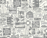 Sail Away  - Montage Silver Grey from Makower UK  Fabric