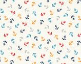 Sail Away - Anchors White from Makower UK  Fabric