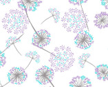 Embrace - Floral Dandelion Lavender Silver DOUBLE GAUZE from Shannon Fabrics