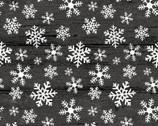 Rustic Village Christmas - Wood Snowflake Gunmetal Grey from Benartex Fabrics