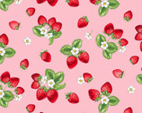 Fresh Fruits OXFORD - Strawberries Pink from Cosmo Fabric