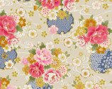 Traditional Japan Sheeting Metallic - Floral Swirl Natural from Cosmo Fabric