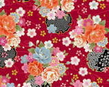 Traditional Japan Sheeting Metallic - Floral Swirl Red from Cosmo Fabric