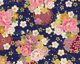 Traditional Japan Sheeting Metallic - Floral Swirl Blue from Cosmo Fabric