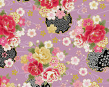 Traditional Japan Sheeting Metallic - Floral Swirl Pink from Cosmo Fabric